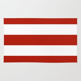 Tomato sauce - solid color - white stripes pattern Rug