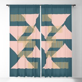 Modern Lines and Triangles Design in Blush, Teal, and gold Blackout Curtain