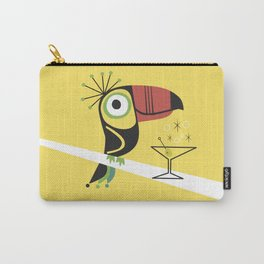 Swank Mid Century Modern Toucan Tiki Bird With Martini Carry-All Pouch