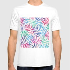 Watercolor Tropical Palm Leaves Mens Fitted Tee MEDIUM White