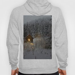 Tiny Cabin In The Winter Forest Snow Covered Pine Trees Hoody