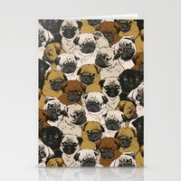 puppy Stationery Cards featuring Social Pugz by Huebucket