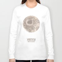 vienna Long Sleeve T-shirts featuring VIENNA AUSTRIA - city poster - city map poster print by All City Posters