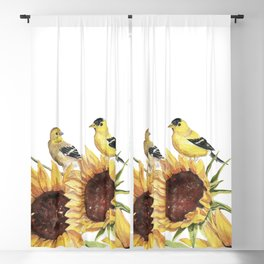 Sunflowers and Goldfinch  Blackout Curtain