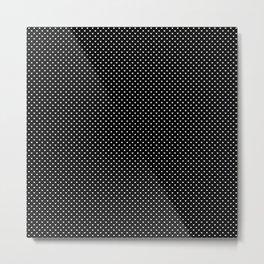 Classic White Polka Dot Hearts on Black Background Metal Print