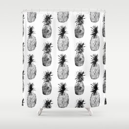 Black-and-white pineapples Shower Curtain