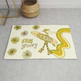 stay groovy rollerskate // retro surf art by surfy birdy Rug