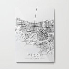Metairie - Louisiana - US Gray Map Art Metal Print
