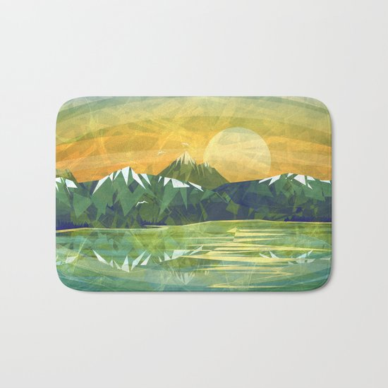Mountains and Sunset over the lake Bath Mat