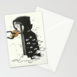 Many Eyed Witch In Cloak With Magic Snakes, Goth art Stationery Cards