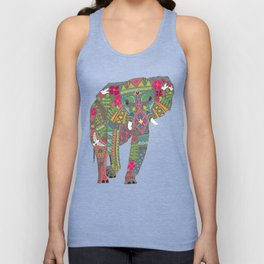 painted elephant chartreuse spot Unisex Tank Top