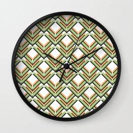 Orange & Green Pattern Wall Clock