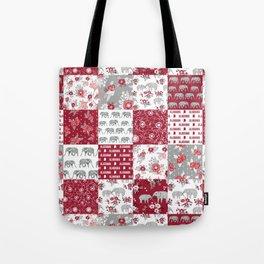 Alabama bama crimson tide quilt pattern florals football varsity alumni Tote Bag