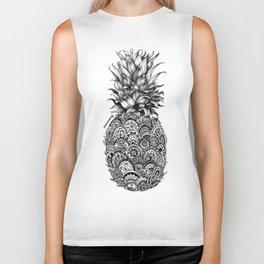 Pineapple Zentangle Black and White Pen Drawing Biker Tank