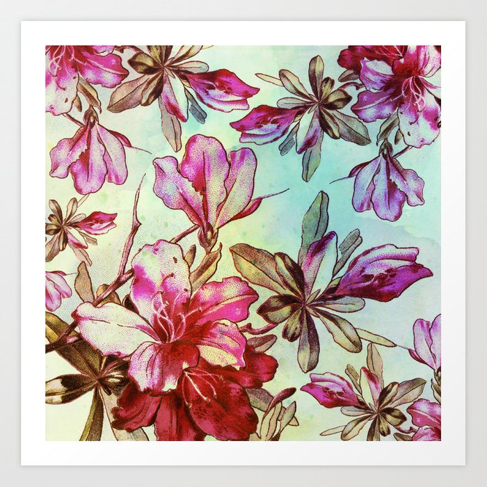 pink lily and turquoise touch Art Print