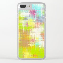green yellow pink and blue plaid pattern Clear iPhone Case