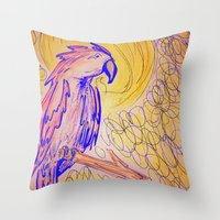 parrot Throw Pillows featuring PARROT  by MAGIC DUST