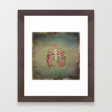 Blooming skeleton on the grunge background  Framed Art Print