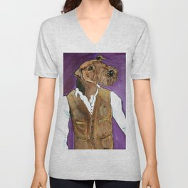 Best dressed Airedale Unisex V-Neck