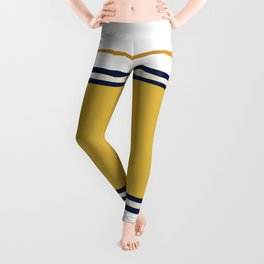 Wide and Thin Stripes Color Block Pattern in Mustard Yellow, Navy Blue, Champagne, and White Leggings