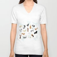 cats V-neck T-shirts featuring Raining Cats & Dogs by Anne Was Here