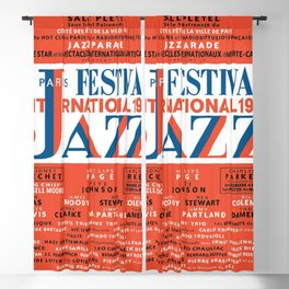 Vintage 1949 Paris International Jazz Festival Poster Blackout Curtain
