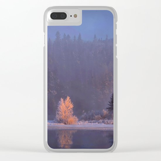 Canadian winter landscape Clear iPhone Case