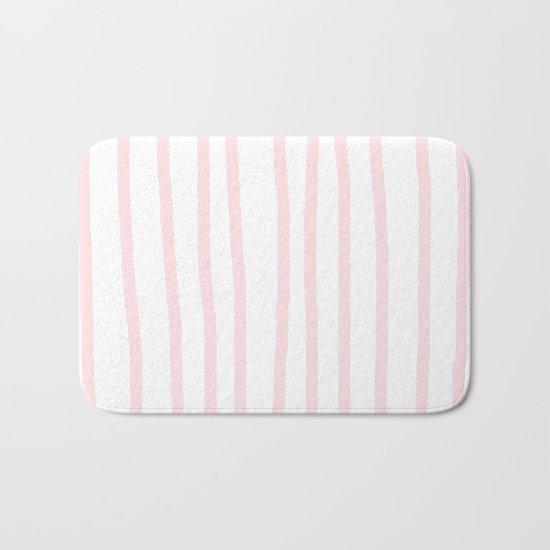 Simply Drawn Vertical Stripes in Flamingo Pink Bath Mat