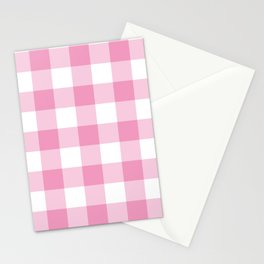 Light Pink Gingham Pattern Stationery Cards