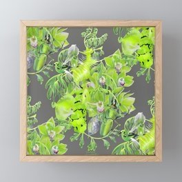 Chartreuse pattern Framed Mini Art Print