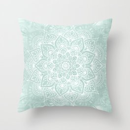 Mandala, Yoga, Love, Flower of Life, Teal Green Throw Pillow