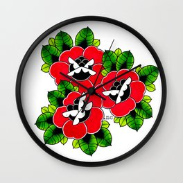 Traditional Tattoo Roses Wall Clock