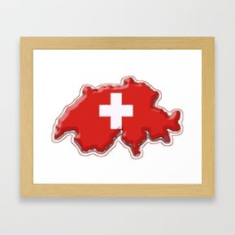 Switzerland Map with Swiss Flag Framed Art Print