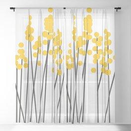 Hello Spring! Yellow/Black Retro Plants on White #decor #society6 #buyart Sheer Curtain