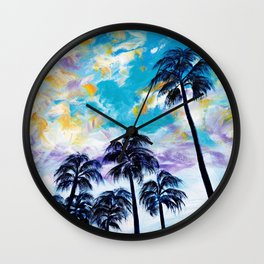 Oceanside Palm Trees Wall Clock