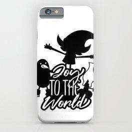 Christmas Elf Penguin Joy To The World iPhone Case