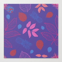 Leaves and Pineapple pattern Canvas Print