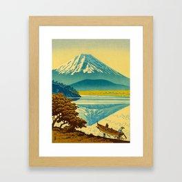 Japanese Woodblock Print Vintage Asian Art Colorful woodblock prints Mount Fuji Framed Art Print