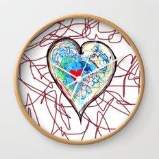 scribble heart Wall Clock