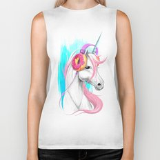 Unicorn in the headphones of donuts Biker Tank