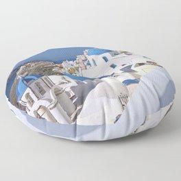 Oia Village in Santorini Floor Pillow