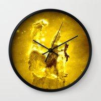 nebula Wall Clocks featuring Yellow neBUla  by 2sweet4words Designs