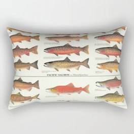 Illustrated Trout, Salmon and Char Fishing Identification Chart of North America Rectangular Pillow