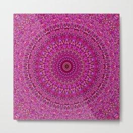 Hot Pink Floral Mandala Metal Print