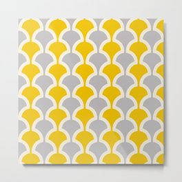 Classic Fan or Scallop Pattern 419 Gray and Yellow Metal Print