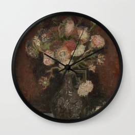 Vase with Chinese Asters and Gladioli Wall Clock