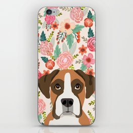 Boxer floral dog head cute pet portrait gifts for Boxers must haves iPhone Skin