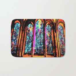 Stained Glass Windows in a Cathedral Bath Mat