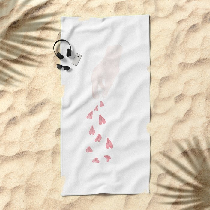Throwing Flowers For Happines Beach Towel