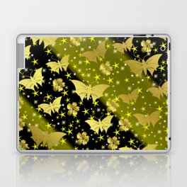 golden butterflies, small asian flowers on black background Laptop & iPad Skin